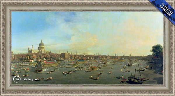 The River Thames with St. Paul's Cathedral on Lord Mayor's Day Painting - Original Painting