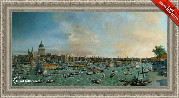 The River Thames with St. Paul's Cathedral on Lord Mayor's Day Painting - Oil Reproduction