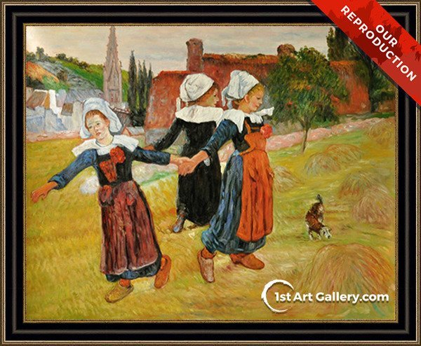 Breton Girls Dancing Aka Dancing A Round In The Haystacks Painting - Oil Reproduction
