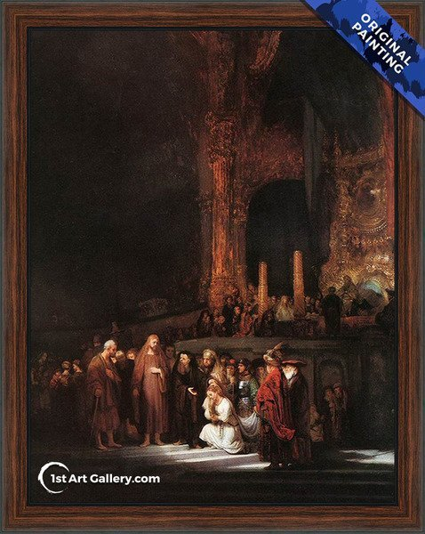 Christ and the Woman Taken in Adultery 1644 Painting by Rembrandt Van Rijn - Original Painting