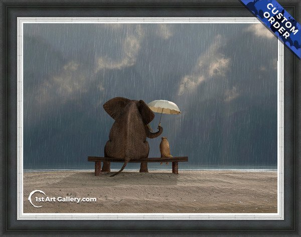 A painting of an elephant and a dog under the rain