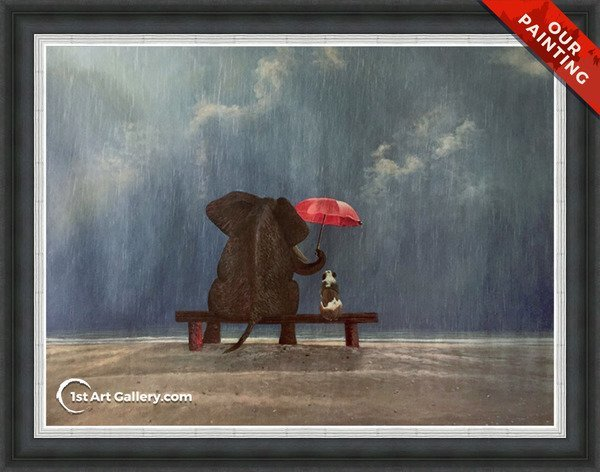 An oil reproduction of an elephant and a dog under the rain