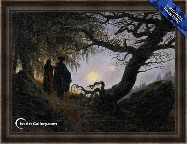 Man and Woman Contemplating the Moon Painting - Original Painting