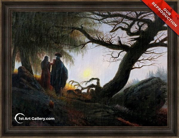 Man and Woman Contemplating the Moon Painting - Oil Reproduction