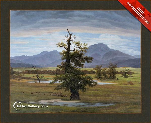 Landscape With Solitary Tree Painting by Caspar David Friedrich - Oil Reproduction