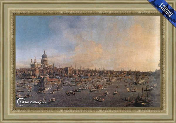 Thames and the City Painting by Canaletto - Original Painting