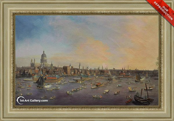 Thames and the City Painting by Canaletto - Oil Reproduction