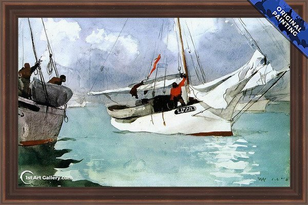 Fishing Boats, Key West Painting by Winslow Homer - Original Painting