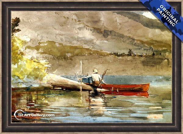 The Red Canoe Painting by Winslow Homer - Original Painting