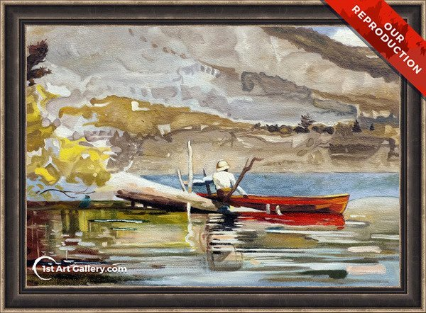 The Red Canoe Painting by Winslow Homer - Oil Reproduction