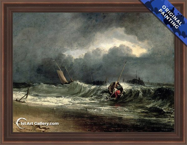 Fishermen upon a lee-shore in squally weather Painting by Turner - Original Painting