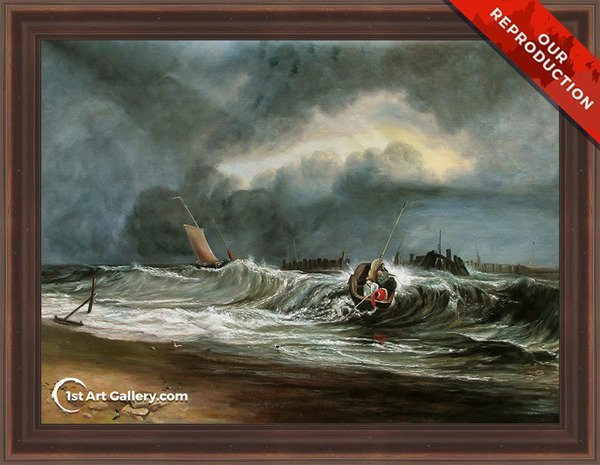 Fishermen upon a lee-shore in squally weather Painting by Turner - Oil Reproduction