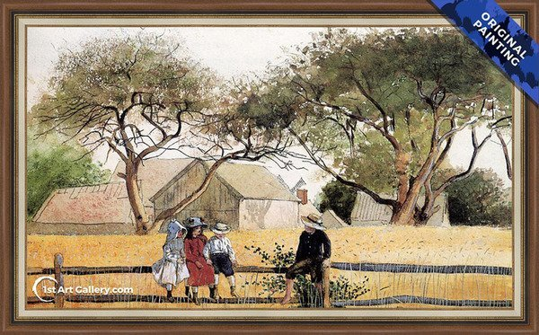Children on a Fence Painting by Winslow Homer - Original Painting