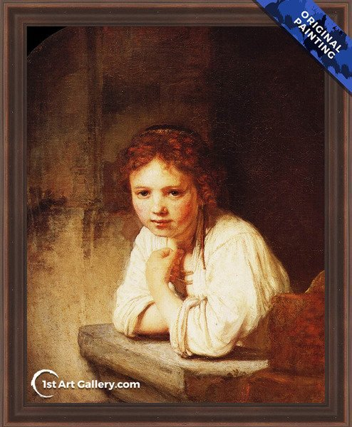 A Girl at a Window Painting by Rembrandt Van Rijn - Original Painting