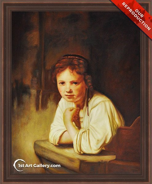A Girl at a Window Painting by Rembrandt Van Rijn - Oil Reproduction