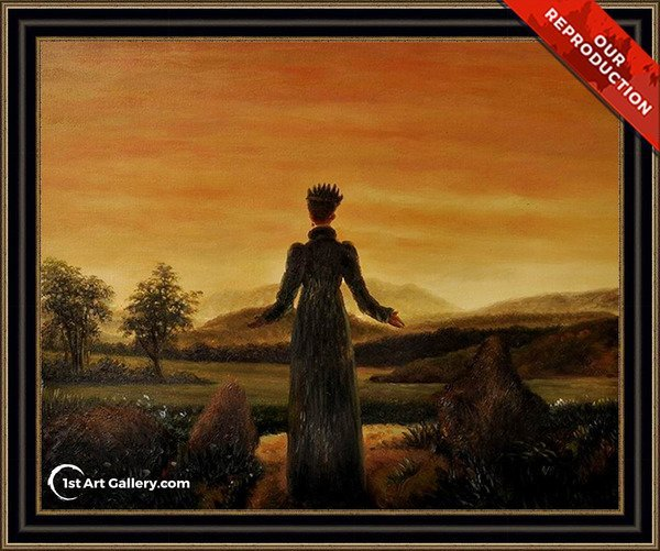 Woman before the Rising Sun Painting - Oil Reproduction