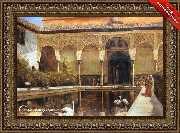 A Court In The Alhambra In The Time Of The Moors Painting - Oil Reproduction