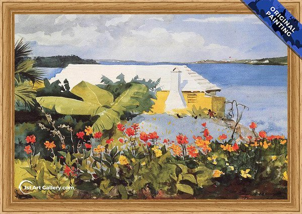 Flower Garden and Bungalow, Bermuda Painting - Original Painting