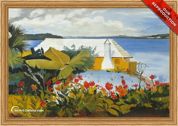 Flower Garden and Bungalow, Bermuda Painting - Oil Reproduction