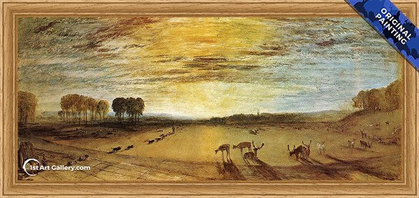 Petworth Park: Tillington Church in the Distance Painting by Turner - Original Painting