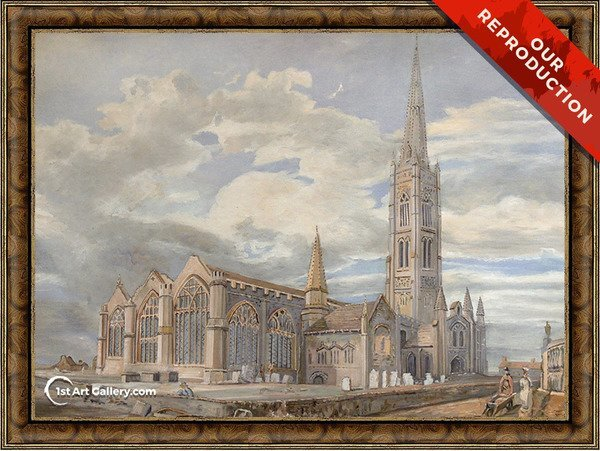 North-east View of Grantham Church, Lincolnshire Painting - Oil Reproduction