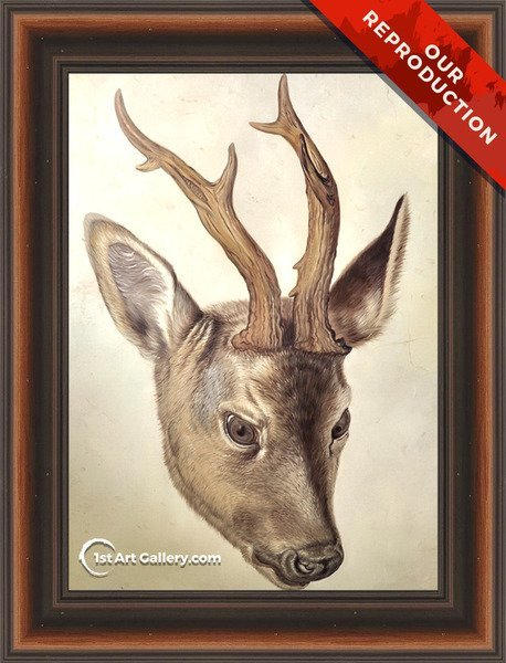 Head of a Stag 2 Painting by Albrecht Durer - Oil Reproduction