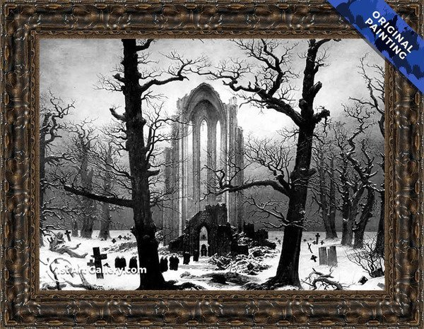 Monastery Graveyard In The Snow Painting - Original Painting