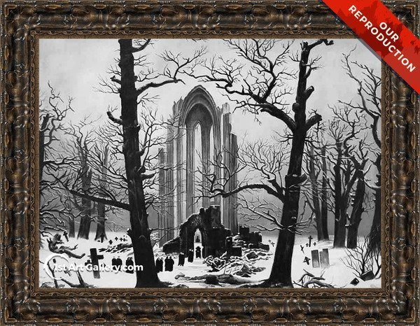Monastery Graveyard In The Snow Painting - Oil Reproduction
