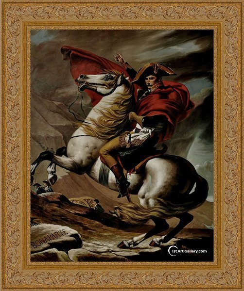 Bonaparte, Calm on a Fiery Steed, Crossing the Alps Painting - Oil Reproduction