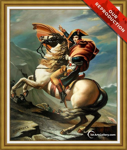 Napoleon Crossing the Alps Painting by Jacques Louis David - Oil Reproduction
