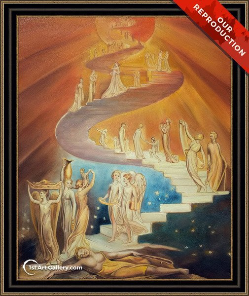 Jacob's Ladder Painting by William Blake - Oil Reproduction