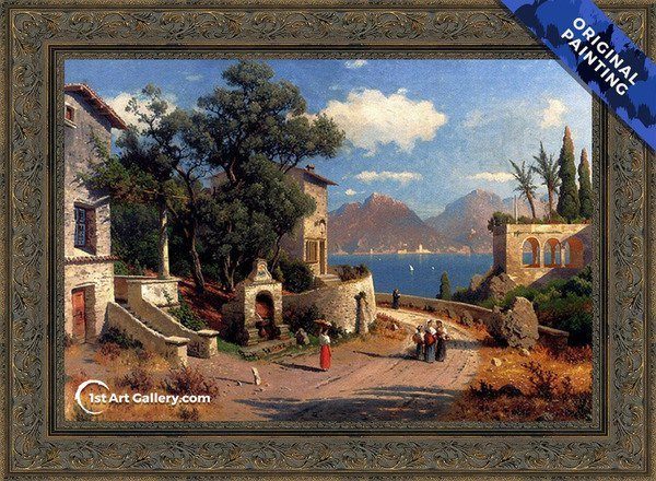 An Italian Village By A Lake Painting by Carl Gustav Rodde - Original Painting