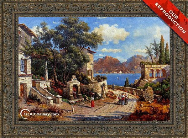 An Italian Village By A Lake Painting by Carl Gustav Rodde - Oil Reproduction