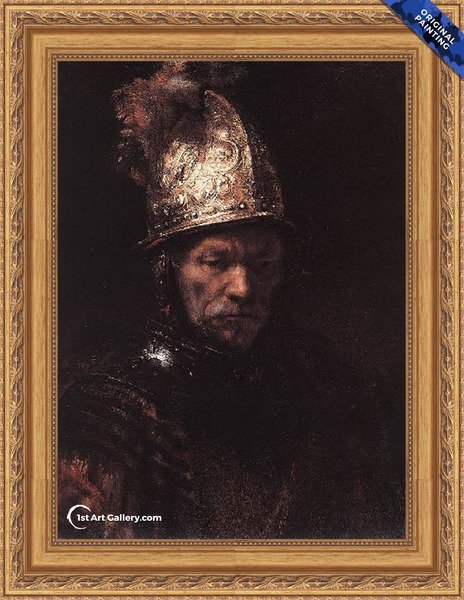 Man in a Golden Helmet c. 1650 Painting by Rembrandt Van Rijn - Original Painting