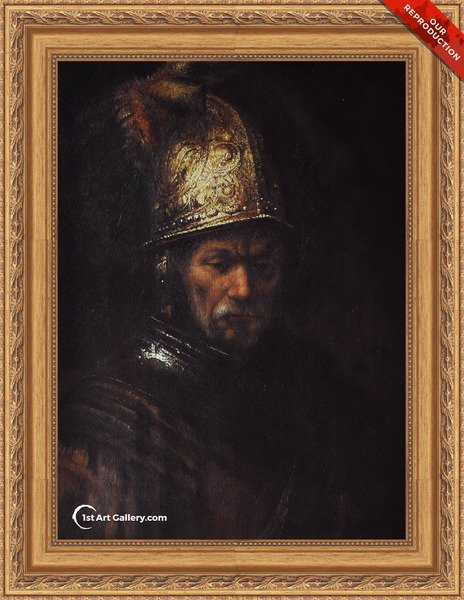 Man in a Golden Helmet c. 1650 Painting by Rembrandt Van Rijn - Oil Reproduction