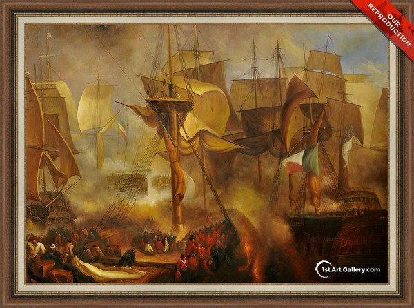 The Battle of Trafalgar Painting by Turner - Oil Reproduction