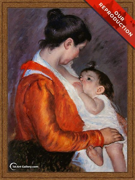 Louise Nursing Her Child Painting by Mary Cassatt - Oil Reproduction