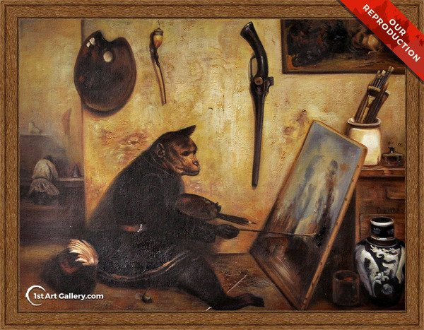 The Monkey Painter Painting by Alexandre Gabriel Decamps - Oil Reproduction