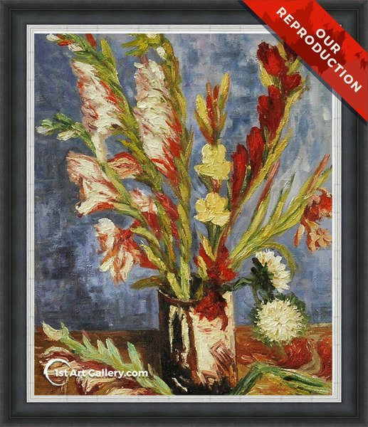 Vase With Gladioli Painting by Van Gogh - Oil Reproduction