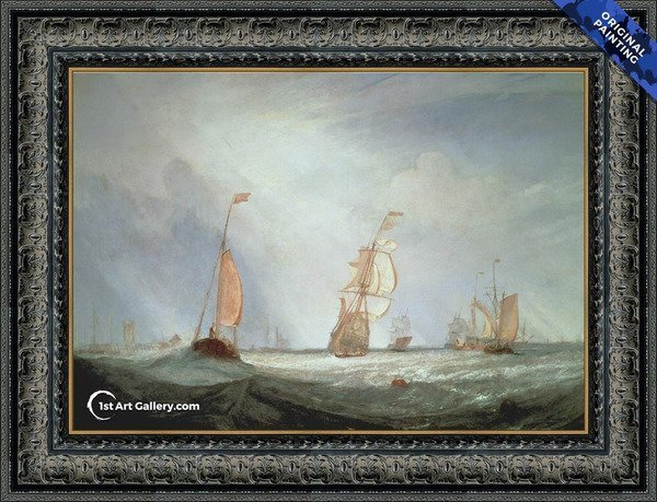 Helvoetsluys ships going out to sea Painting by Turner - Original Painting