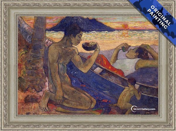 The Canoe A Tahitian Family Painting by Paul Gauguin - Original Painting