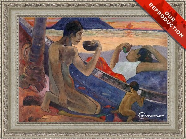 The Canoe A Tahitian Family Painting by Paul Gauguin - Oil Reproduction