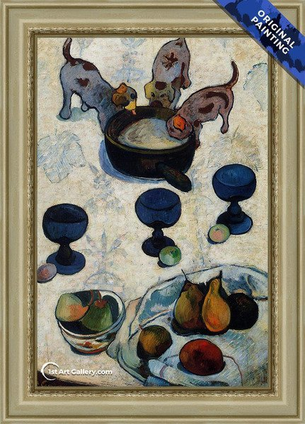 Still Life With Three Puppies Painting by Paul Gauguin - Original Painting