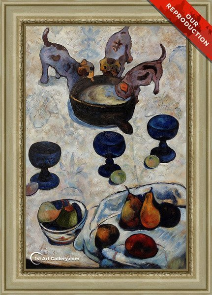 Still Life With Three Puppies Painting by Paul Gauguin - Oil Reproduction