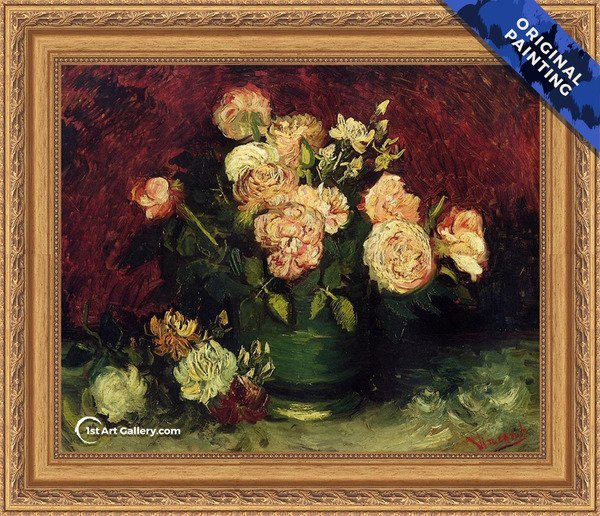 Bowl With Peonies And Roses Painting by Van Gogh - Original Painting