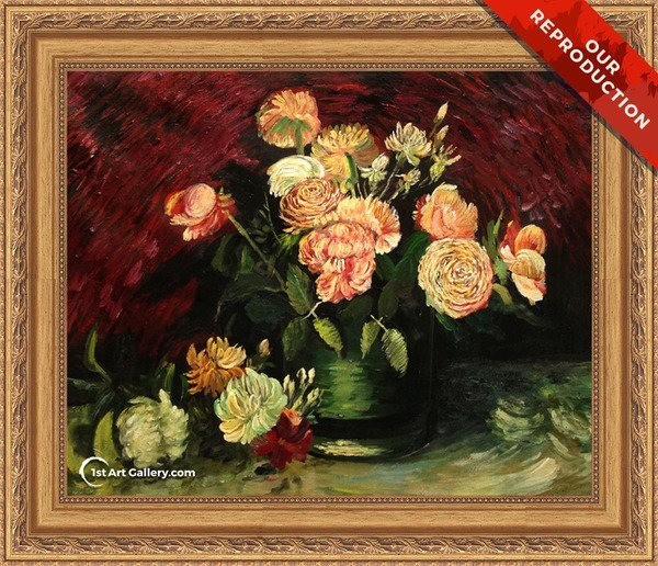 Bowl With Peonies And Roses Painting by Van Gogh - Oil Reproduction