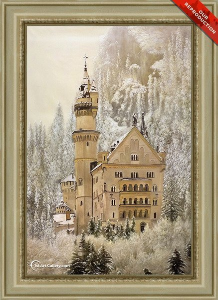 Oil reproduction of a castle in winter mountains