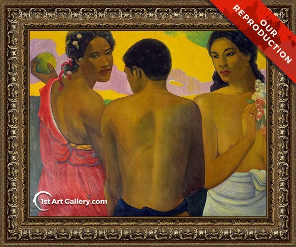 Three Tahitians Painting by Paul Gauguin - Oil Reproduction