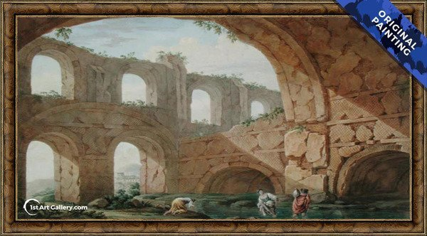 Hadrian's Villa, near Tivoli Painting by Charles-Louis Clerisseau - Original Painting