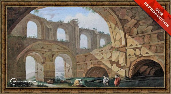 Hadrian's Villa, near Tivoli Painting by Charles-Louis Clerisseau - Oil Reproduction